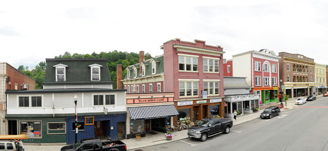Historic buildings in downtown Saranac Lake