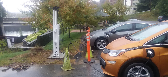 electric vehichles using a charging station