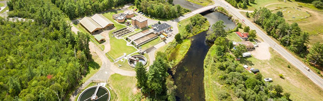 aerial image of waste water treatment plant