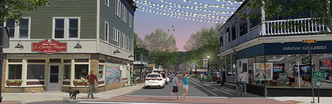 Rendering of Woodruff Street in Saranac Lake looking east with people walking around and storefronts